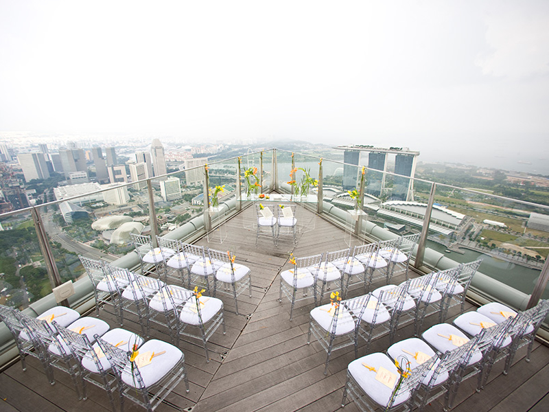 wedding solemnisation setup at rooftop area