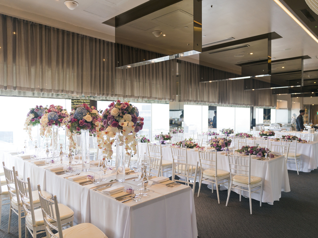 indoor wedding reception using flower table decoration
