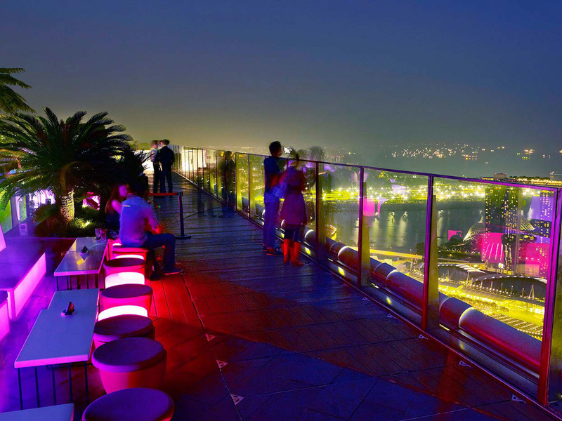 rooftop bar with panoramic view of cityscape