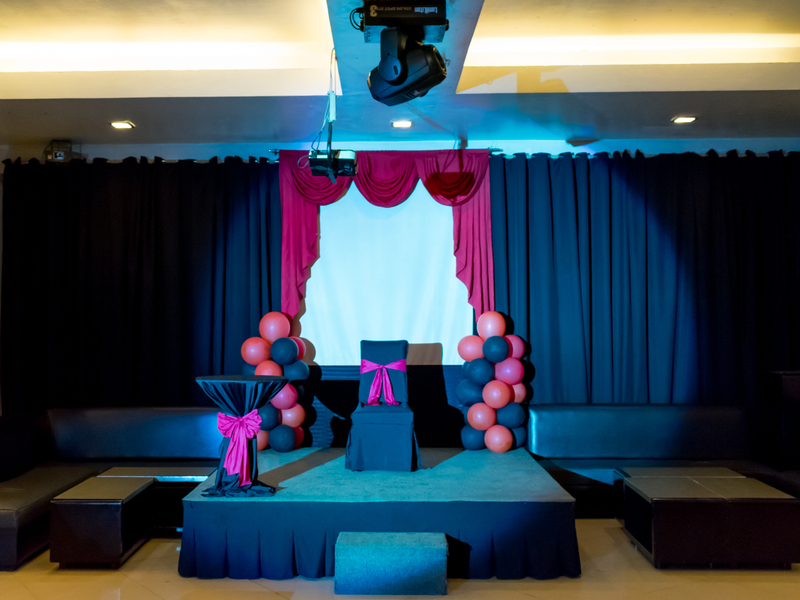 birthday party setup on stage