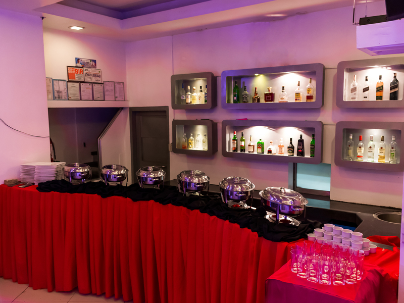 buffet lineup in party hall