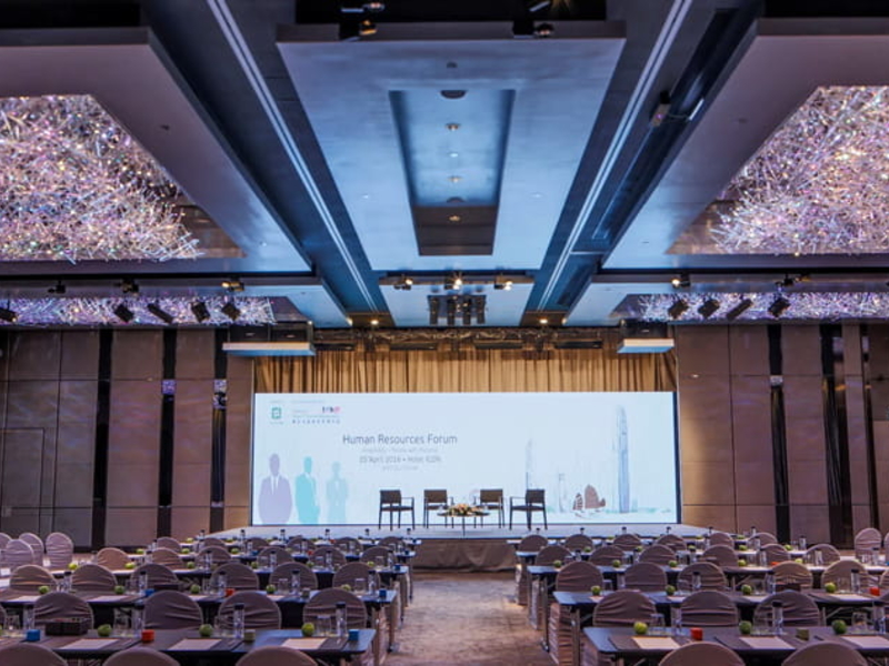 classroom style setup for corporate event in the grand ballroom