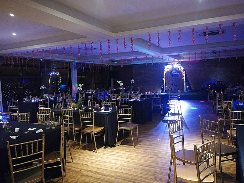 villa with indoor banquet party area and mini stage