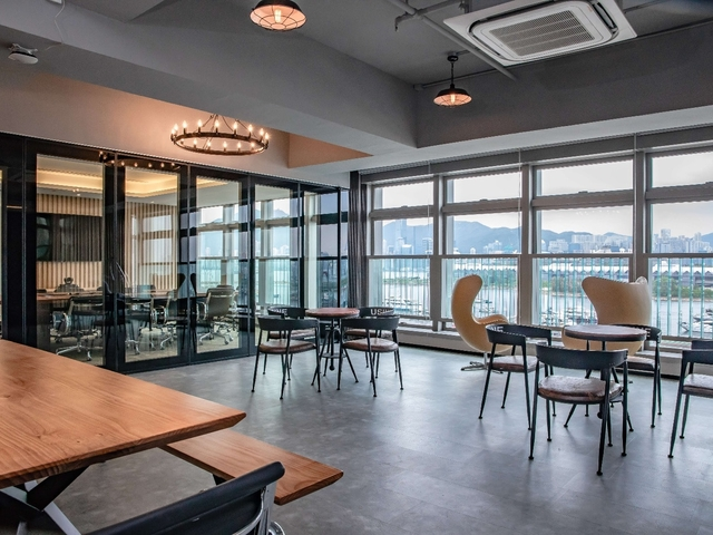 coworking space area with full sea-views of victoria harbour