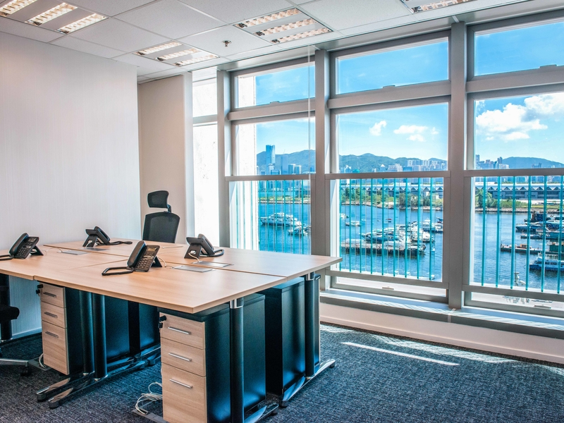 private office with floor to ceiling sea views