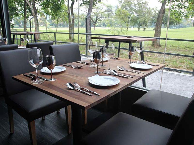 black theme restaurant with garden view