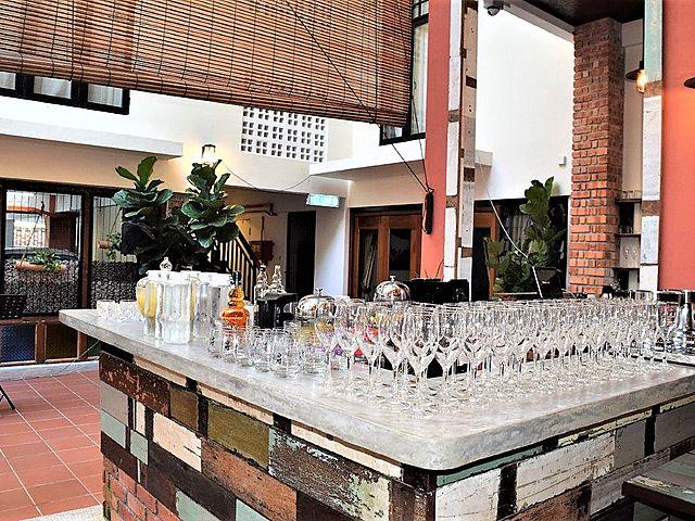 wine glass display at bar counter