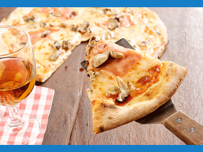 pizza with mushroom toppings and sauce
