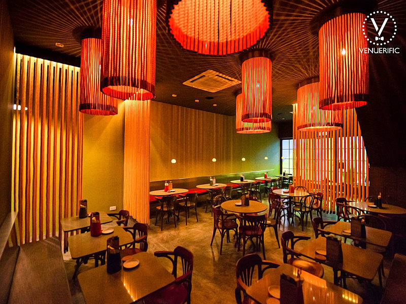 restaurant with industrial tibetanesque interior decor
