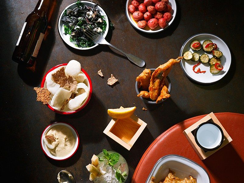 modern asian cuisine on the table with bottle drink