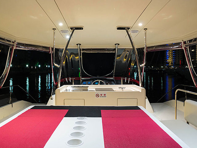 yacht with dining area and entertainment for party