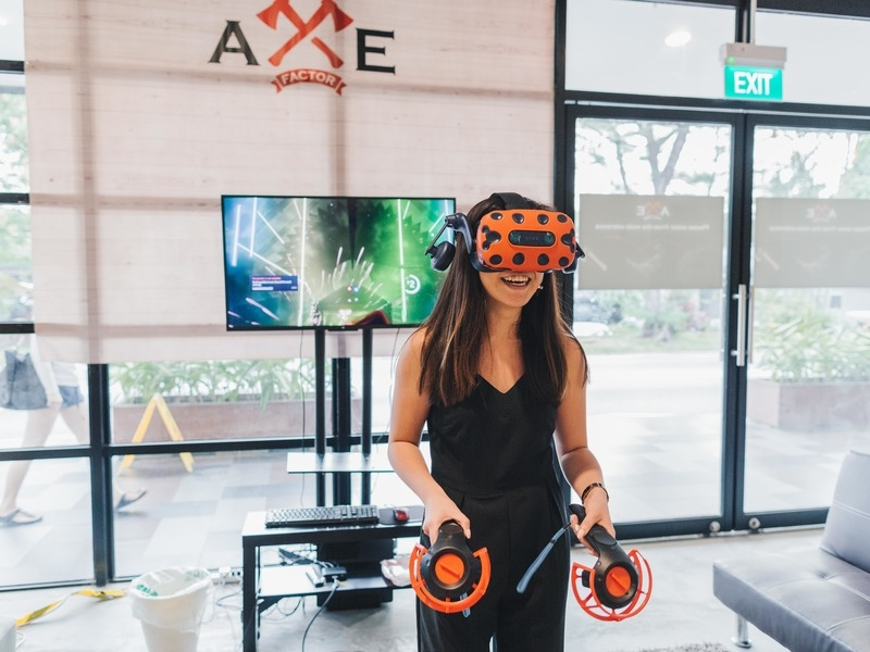 woman is playing fun-filled vr games