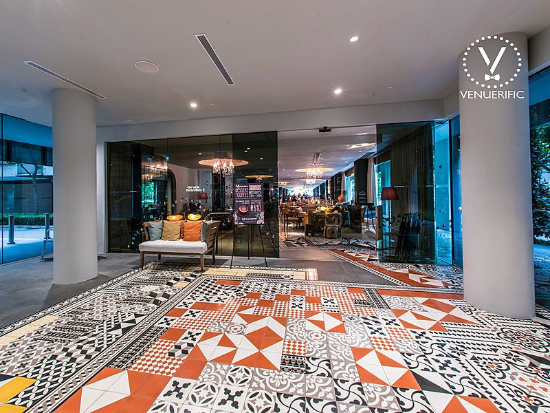 the lobby of m social singapore with contemporary floor architecture