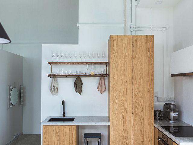 wooden minimalist kitchen area of chun tsubaki