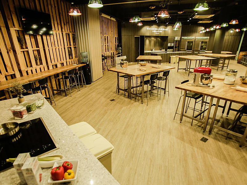 event space with kitchen for cooking and baking workshop