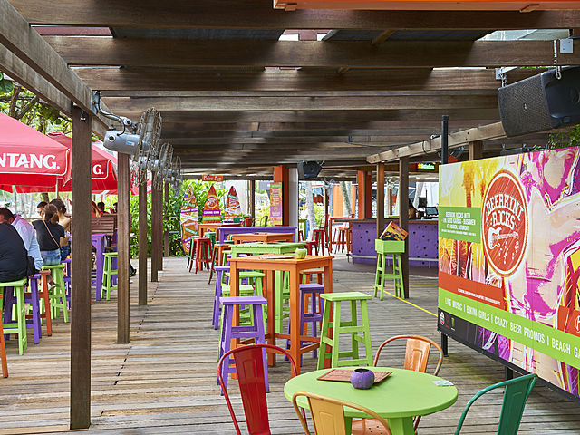 beach bar with colourful and wooden interior