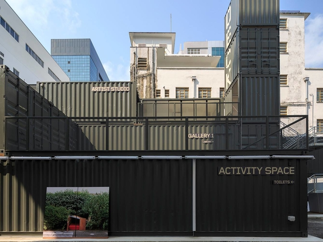 shipping containers theme of the building