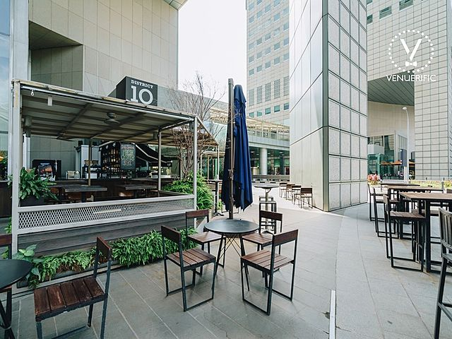 outdoor seating area with stunning view of the city