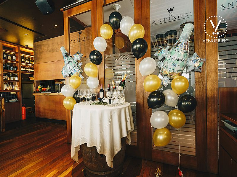birthday table with balloon decor and wine on the table