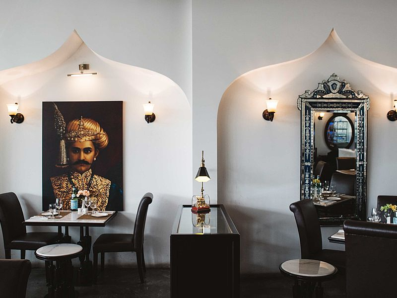 dining area with indian architecture