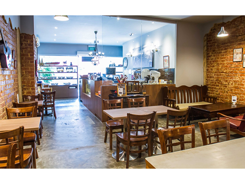 cafe with artistic furniture in rustic theme
