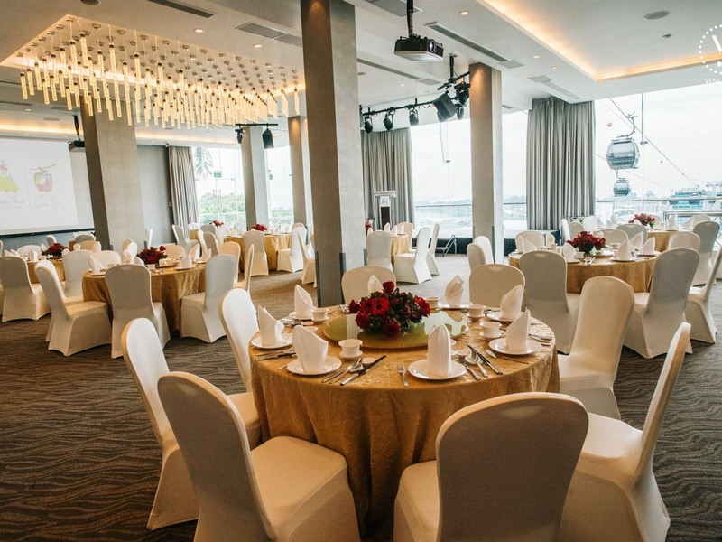 wedding ballroom with floor to ceiling glass windows in singapore