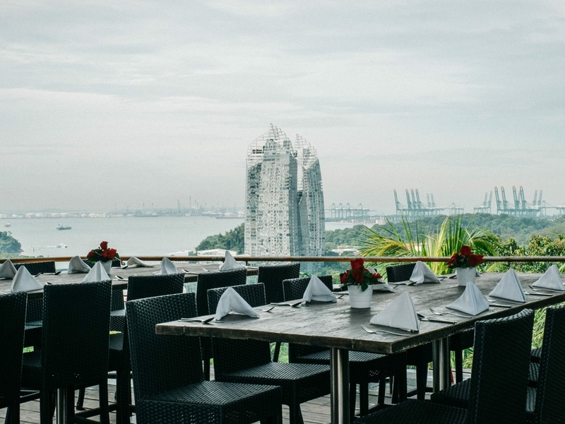 dining are with the panoramic views of the hillside rainforest