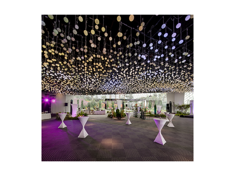 outdoor cocktail standing party setup with hanging lights