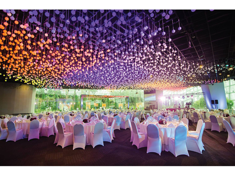 event space set within the colourful gardens with spectacular view of marina bay waterfront