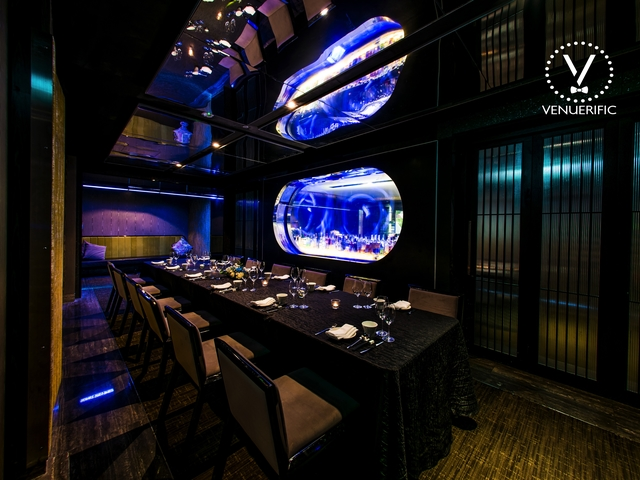 mitzo restaurant's private dining room with its famous jellyfish tank