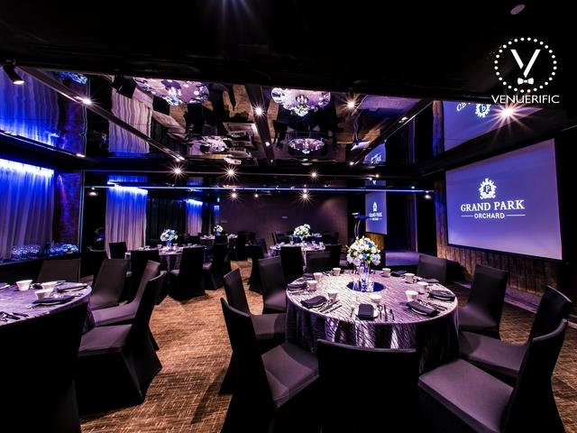 versatile hotel ballroom with round table seating setup