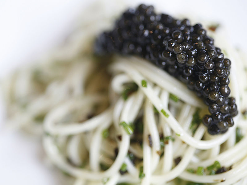 french cuisine spaghetti with caviar on top