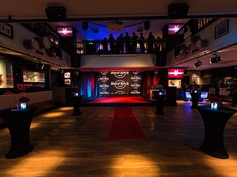 hall with wood floor and high celling for event in hard rock cafe singapore