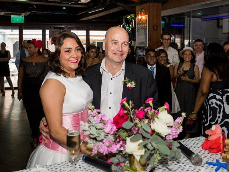 wedding celebration with flower decoration and the guests