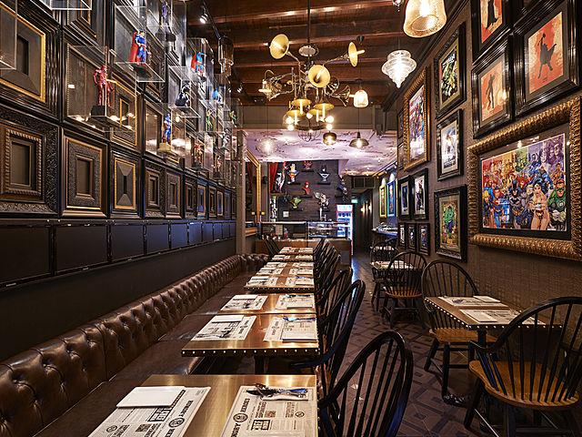 classic restaurant decoration with super hero frame photo