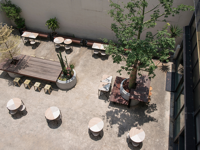 the look from the top of outdoor area at cshh coffee bar