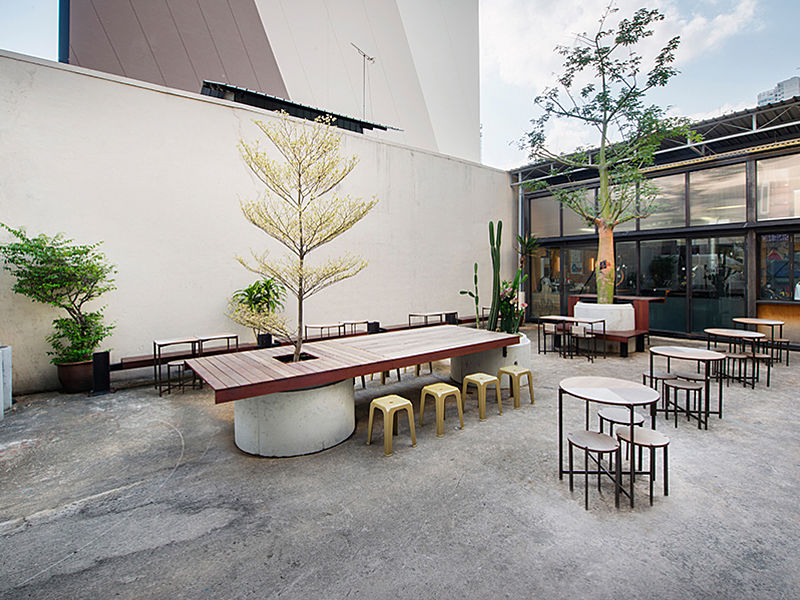 outdoor coffee bar with asian minimalist style