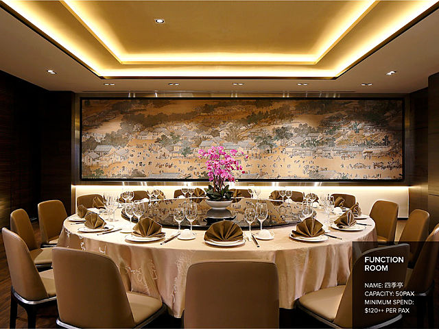 private room with big painting and table set up for corporate dining