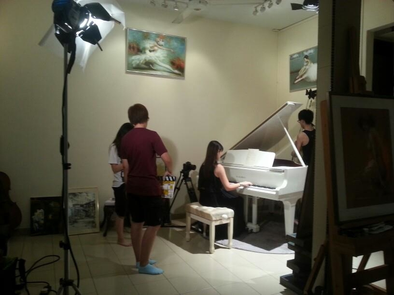 advertisment video shoot with piano part