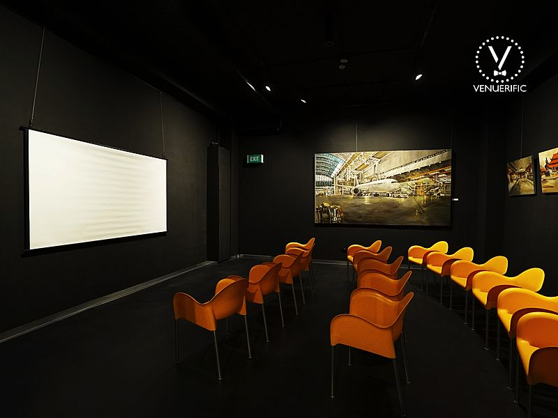 private room seminar with screen projector