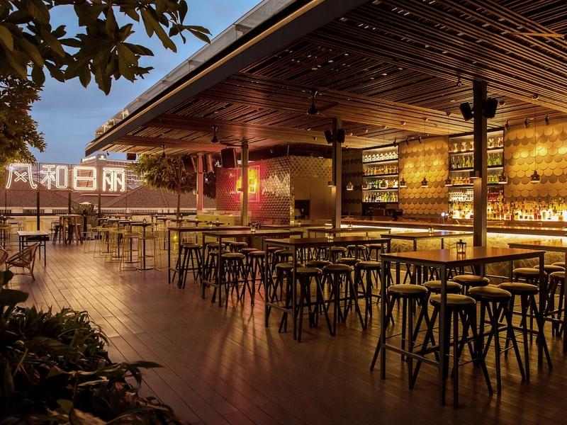 outdoor restaurant surrounding with tree