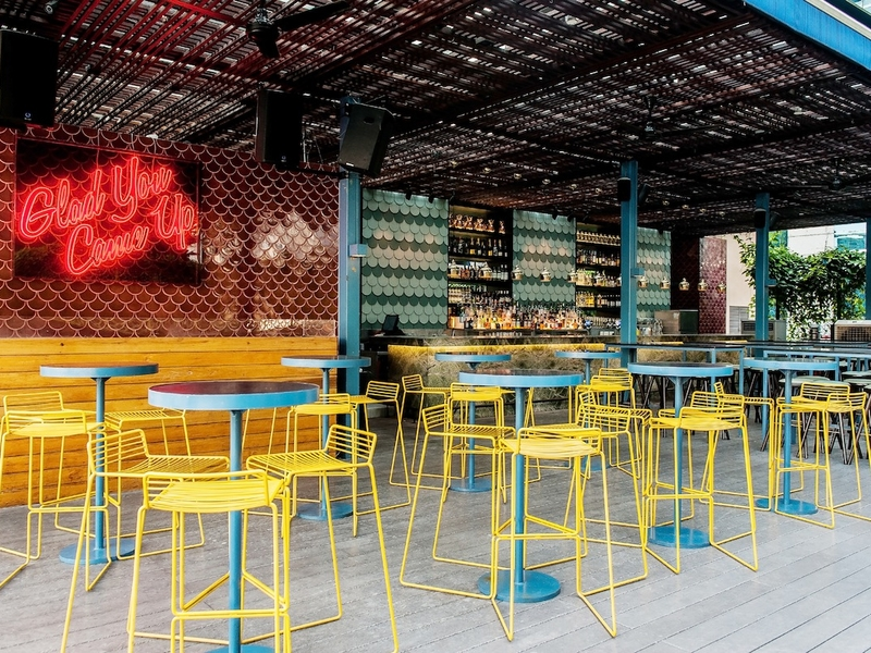 outdoor restaurant with colourful interior