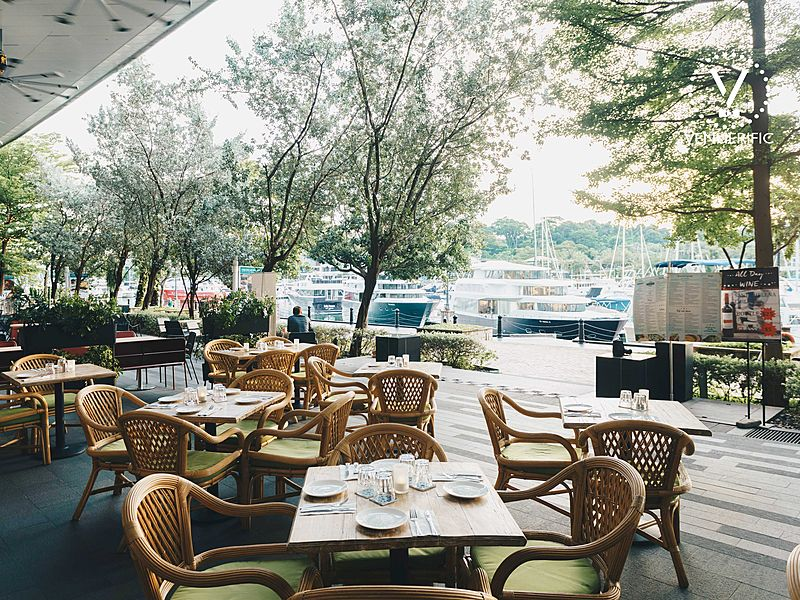 outdoor cafe surrounding with tree