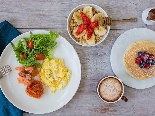 breakfast menu with scrambled egg and pancake