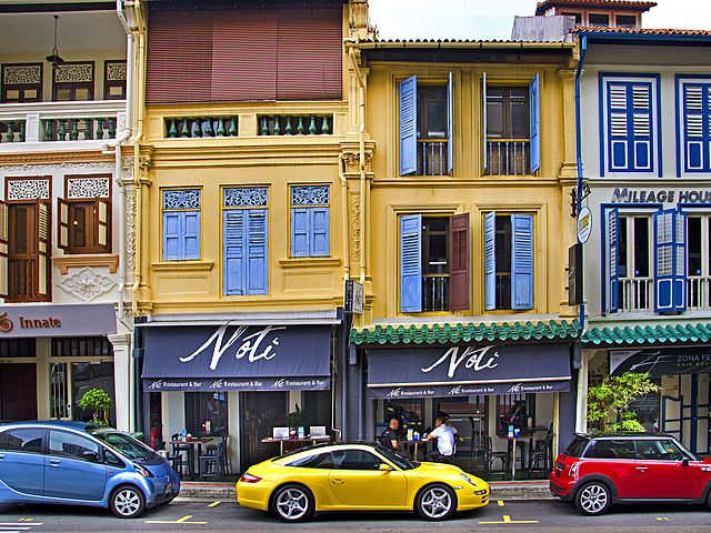 nori restaurant bar with yellow building at chinatown singapore