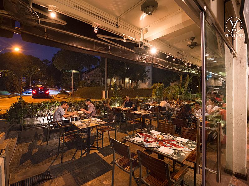 customer enjoying dinner in outdoor space