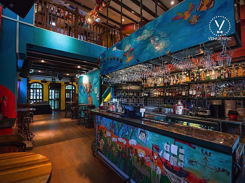 underwater bar with ocean graffiti