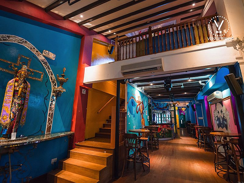 bar with 4 different vibrant rooms