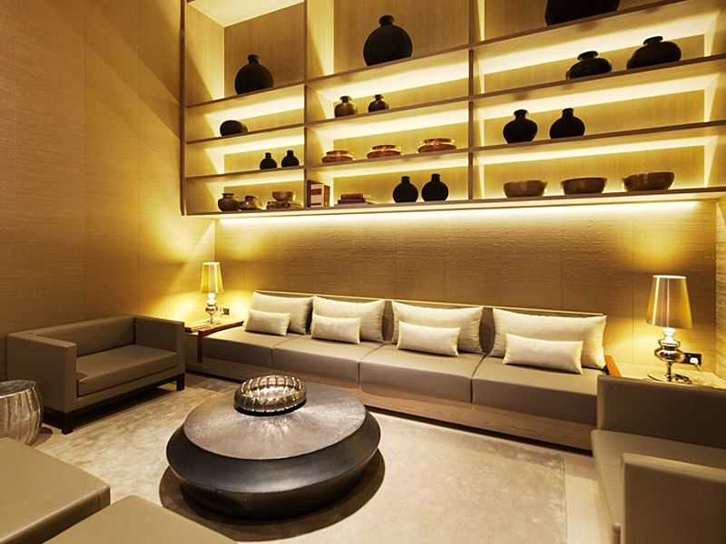 exclusive private room with couch and jars decoration