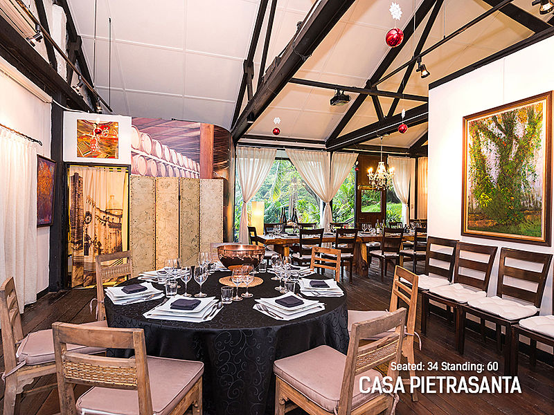 italian restaurant in singapore decorated with wall art paintings